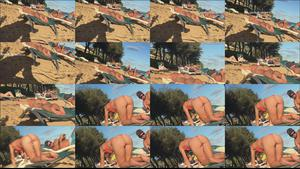 Voyeur Sexy stretch gets her in doggy style pose on beach