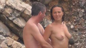 Voyeur Nervous nudist woman fucked on beach