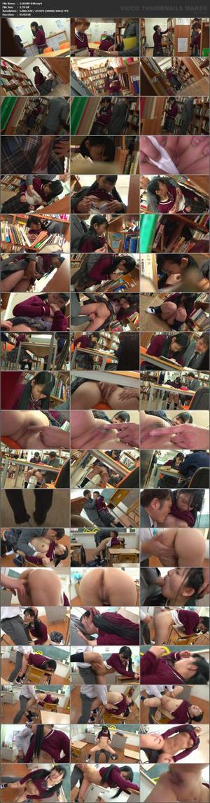 116SHN-048 図書館で声も出せず糸引くほど愛液が溢れ出す敏感娘 教師に机の下でイカされた黒髪J○